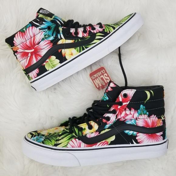 60f5e8c6fc Vans Sk8 Hi Slim Black Hawaiian Floral W 9.5. M 5a9873e73a112e4000e9b115.  Other Shoes you may like. Red Classic Vans